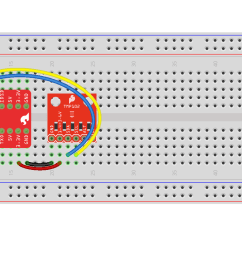 fritzing diagram of using a pi wedge to connect to a tmp102 temperature sensor [ 1944 x 852 Pixel ]
