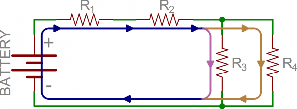 Example of current flow through circuit