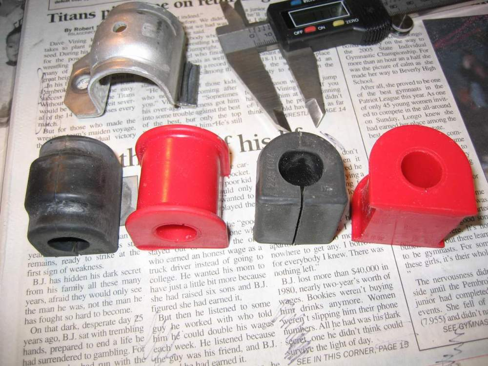 medium resolution of here you can see the difference between oem rubber sway bar bushings and aftermarket polyurethane sway bar bushings