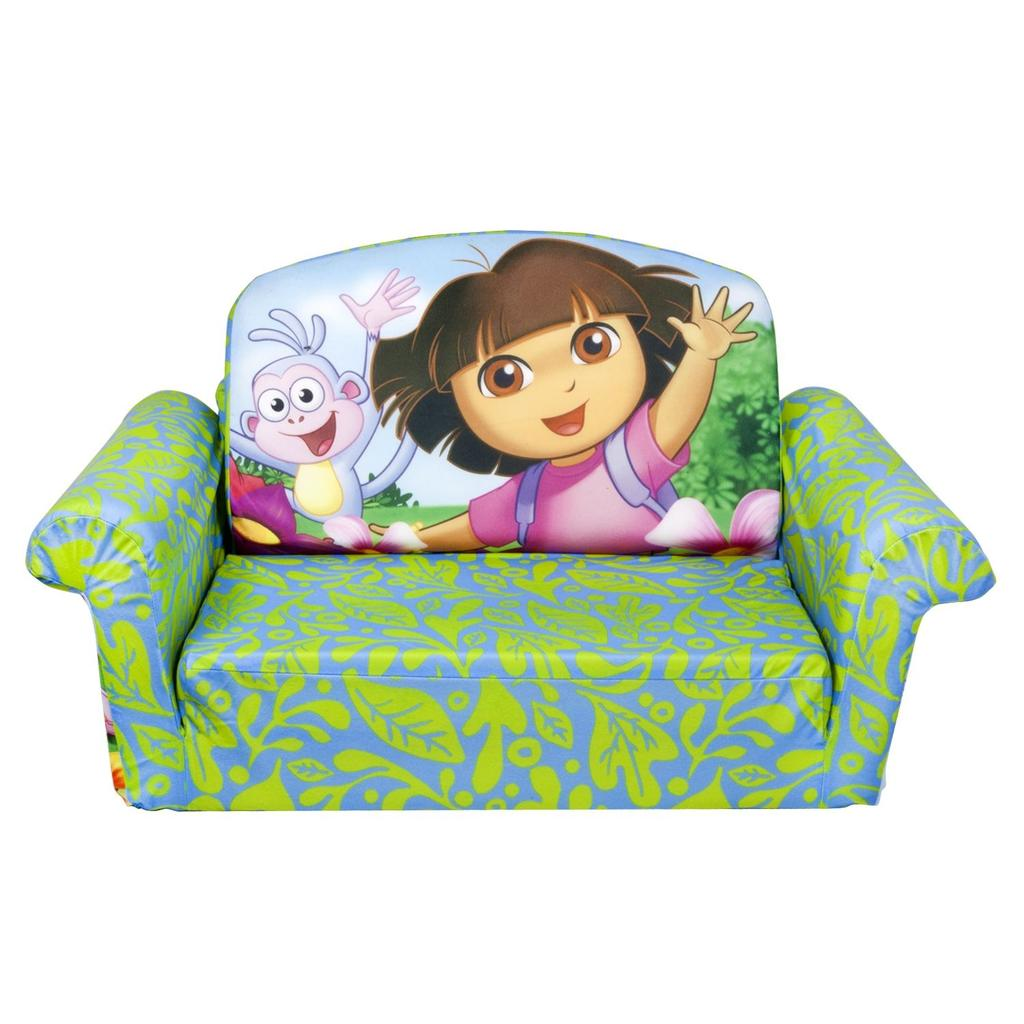 dora the explorer flip out sofa bed l shaped designs for small living room spin master marshmallow furniture open