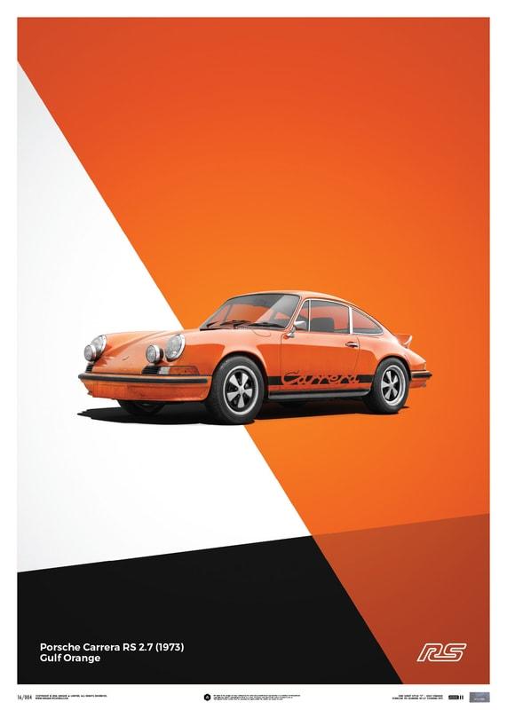 porsche 911 rs orange poster limited edition