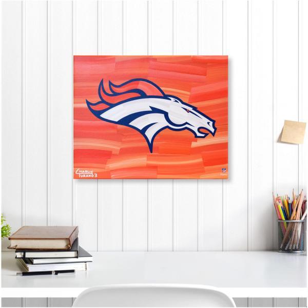 "Denver Broncos 16"" X 20"" Logo With Orange Abstract"