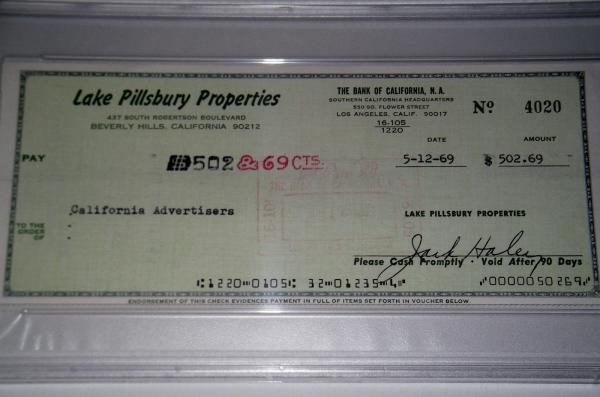 Jack Haley Signed Personal Check Wizard Of Oz Tin Man Psa Dna Slabbed