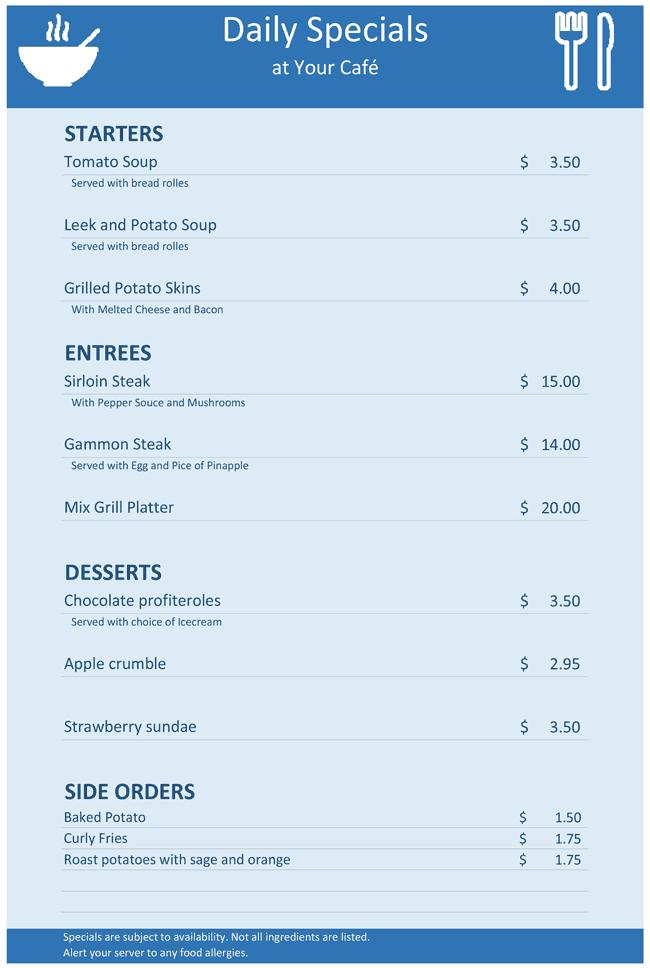 specials menu template