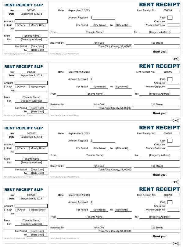 rental receipts for tenants