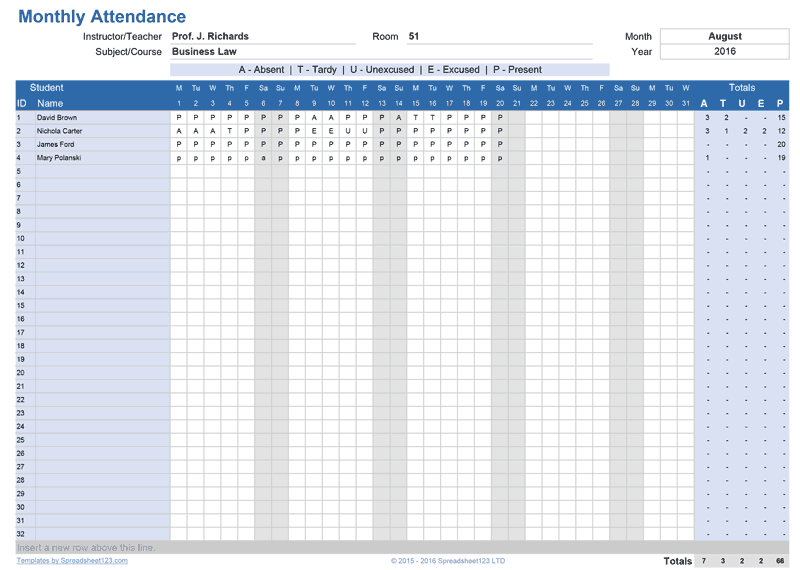 Printable Class Attendance Tracker For Excel