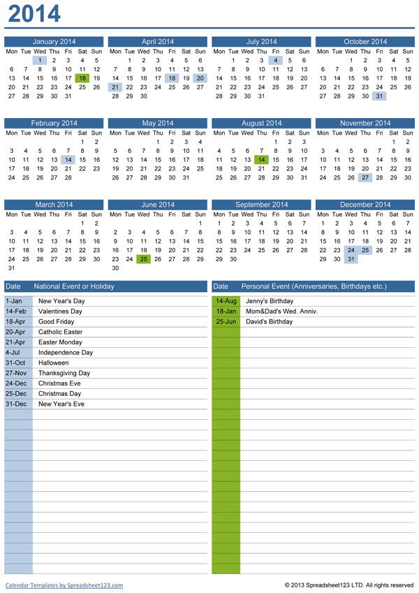 Perpetual Yearly Calendar With Birthdays Free Template