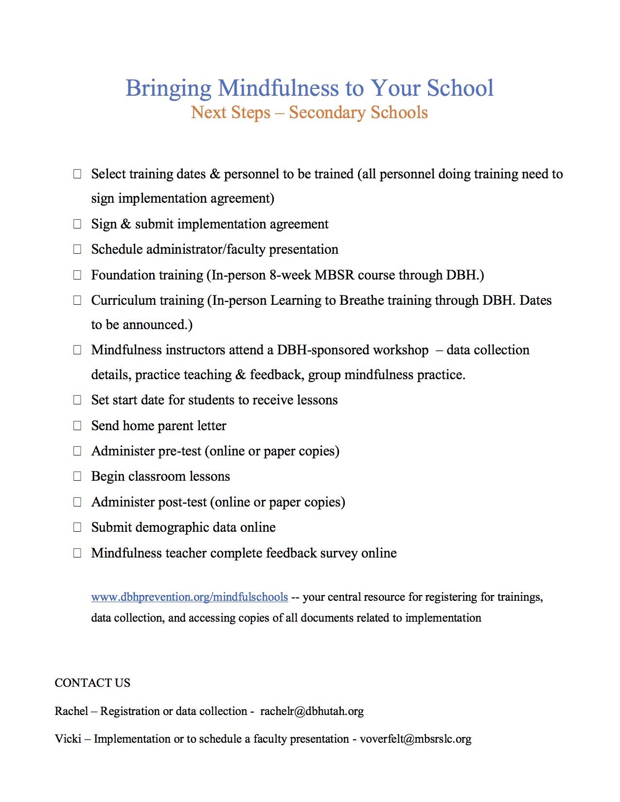 Mindfulness Program Materials Davis Behavioral Health