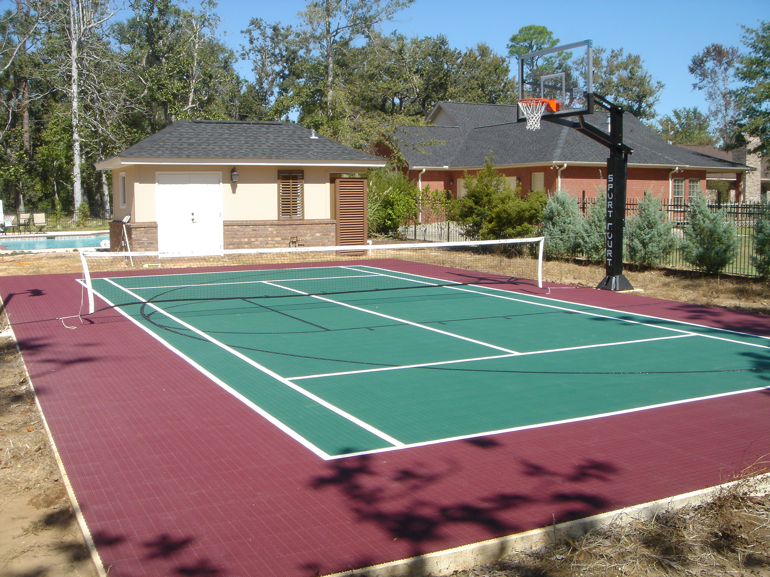 Backyard Basketball Court  Home Tennis Court  Home