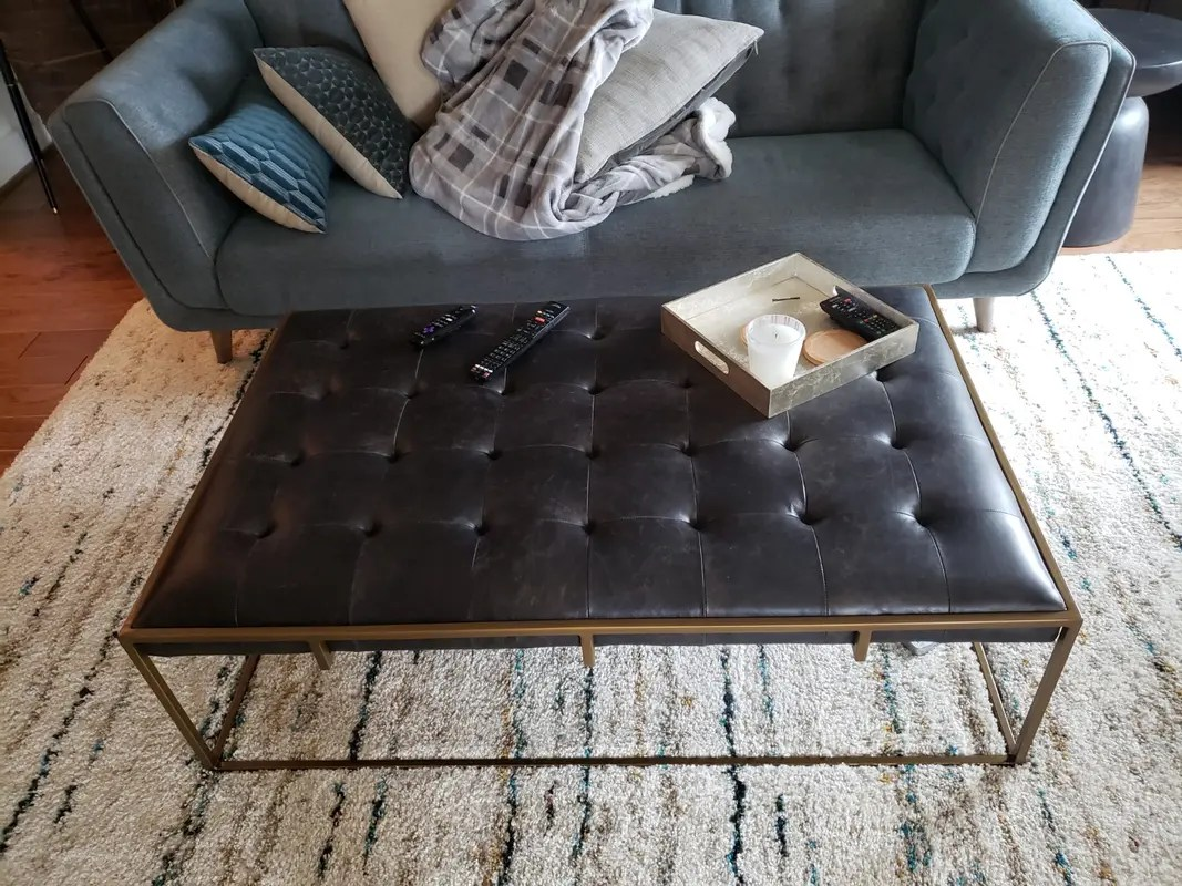 oxford tufted black leather ottoman coffee table 50