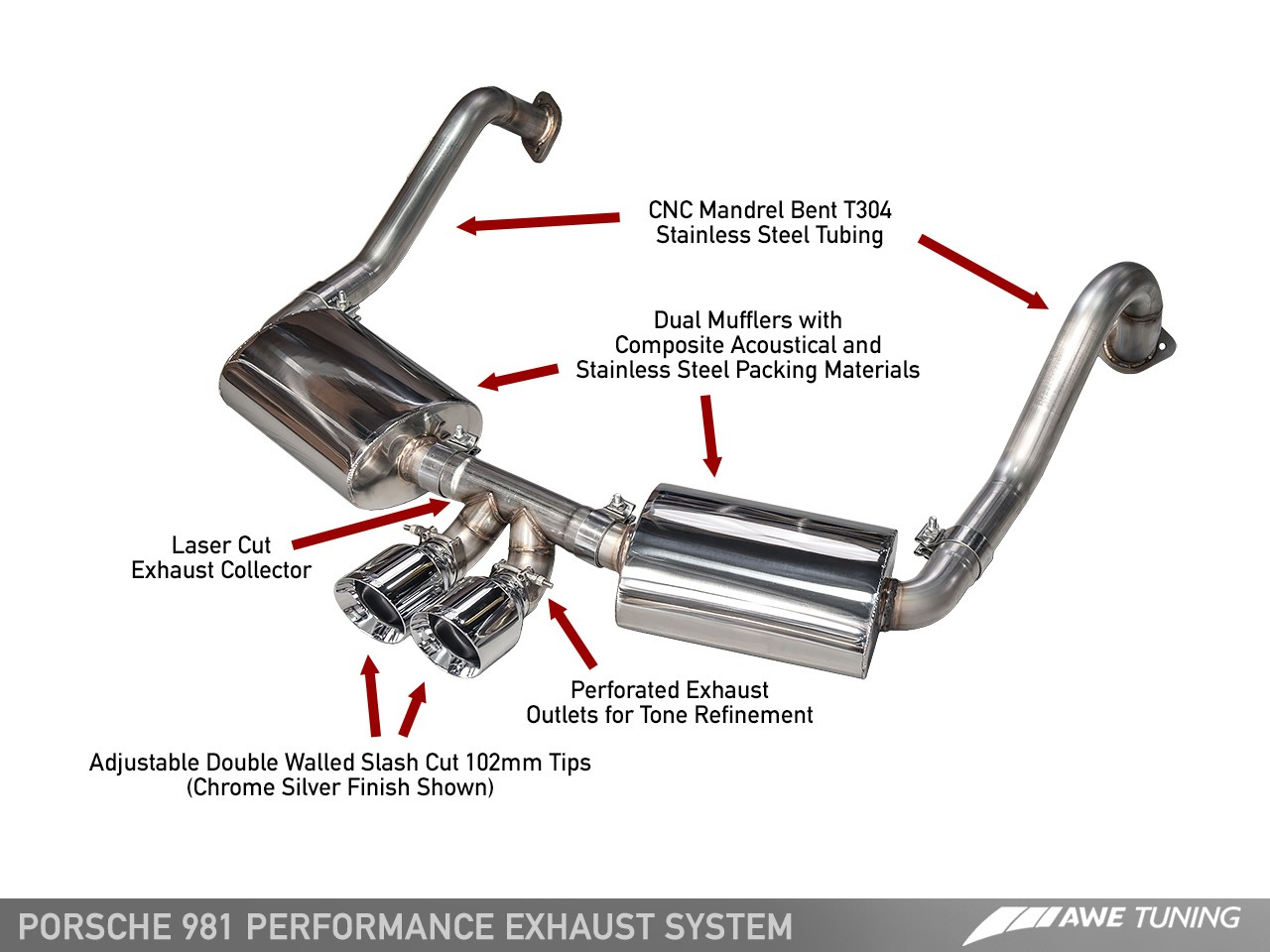 hight resolution of porsche 981 performance exhaust system with chrome silver tips awe tuning