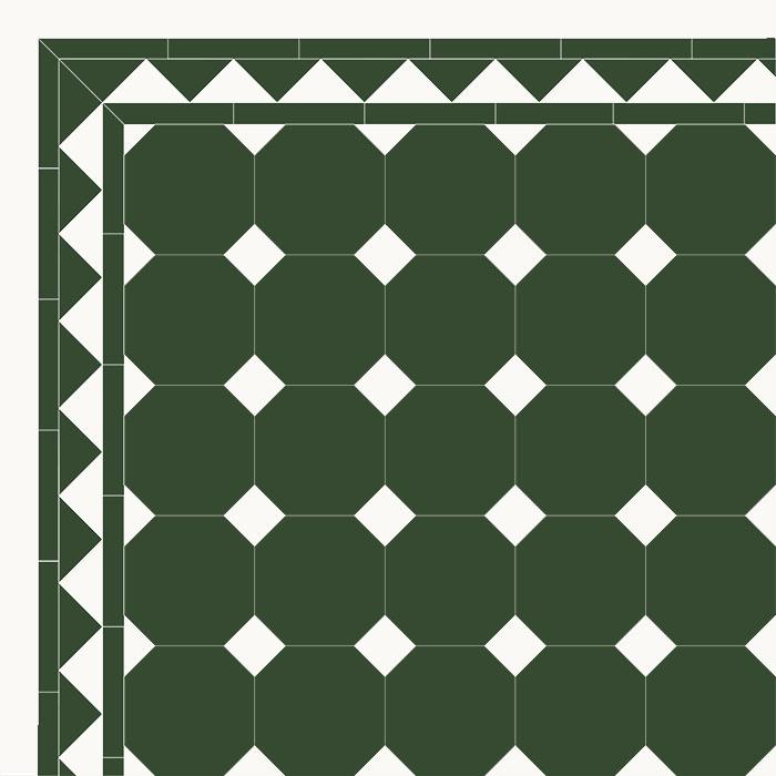 floor tiles octagon 15 x 15 cm green black