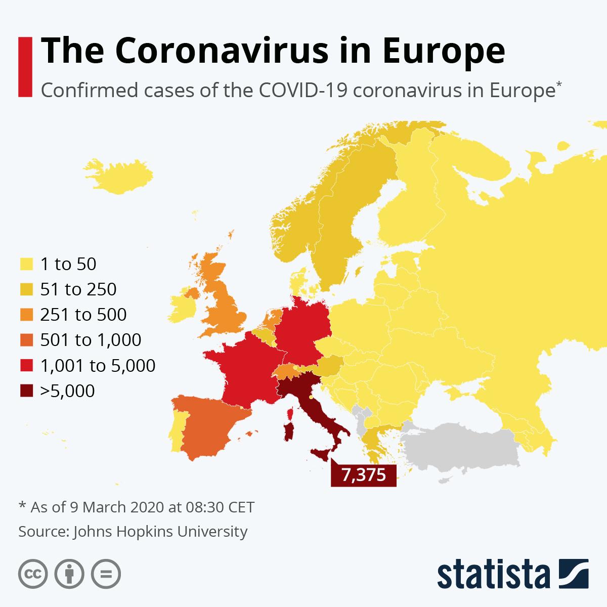Chart: The Coronavirus in Europe | Statista