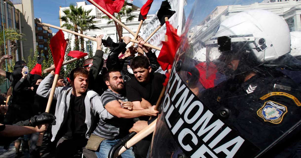Protestors against austerity confront riot police in Greece, October 2010