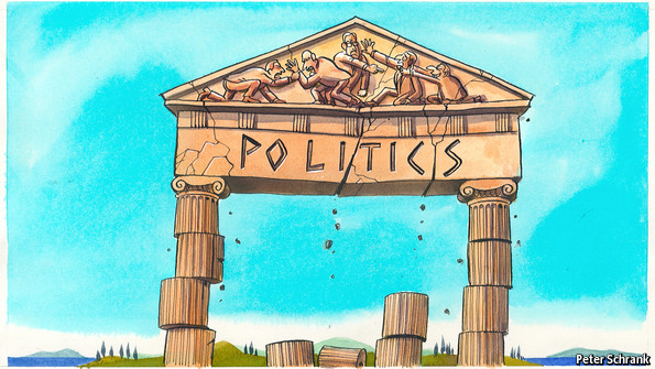 Cartoon of crumbling Greek building