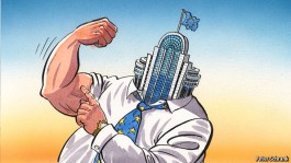 Cartoon from Charlemagne column showing European Parliament flexing its muscles