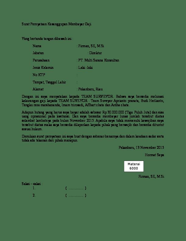 Surat Pernyataan Kesanggupan Membayar Hutang : surat, pernyataan, kesanggupan, membayar, hutang, Contoh, Surat, Melunasi, Hutang, Kumpulan