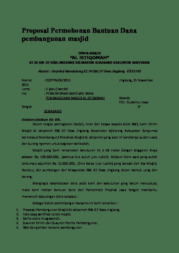 Proposal Masjid Doc : proposal, masjid, Contoh, Surat, Edaran, Sumbangan, Masjid, Kumpulan