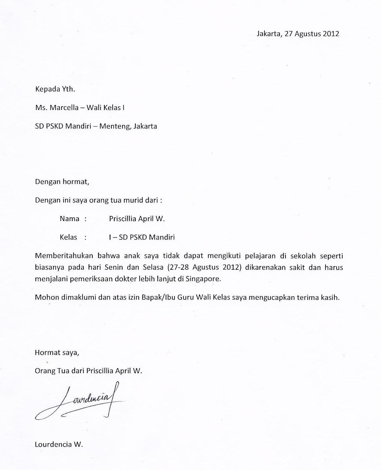 Surat Izin Tidak Masuk Sekolah/Madrasah dalam Bahasa Jawa