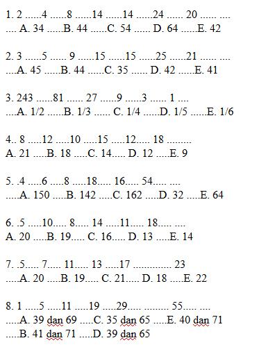 Tes Deret Angka : deret, angka, Contoh, Psikotes, Deret, Gambar, Jawabannya