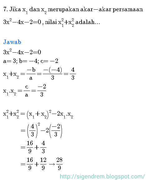 Contoh Soal Persamaan Kuadrat : contoh, persamaan, kuadrat, Pembahasan, Persamaan, Kuadrat, Sedang