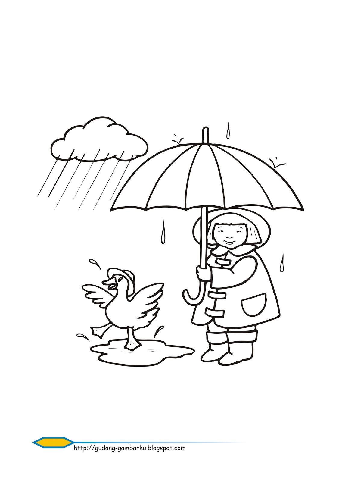 Mewarnai Gambar Hujan : mewarnai, gambar, hujan, Mewarnai, Pemandangan, Hujan