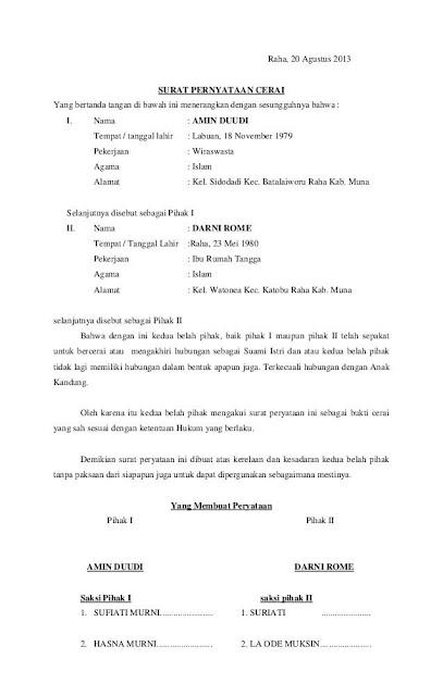 Surat Pernyataan Nikah Siri : surat, pernyataan, nikah, Contoh, Surat, Talak, Cerai, Nikah, Nusagates
