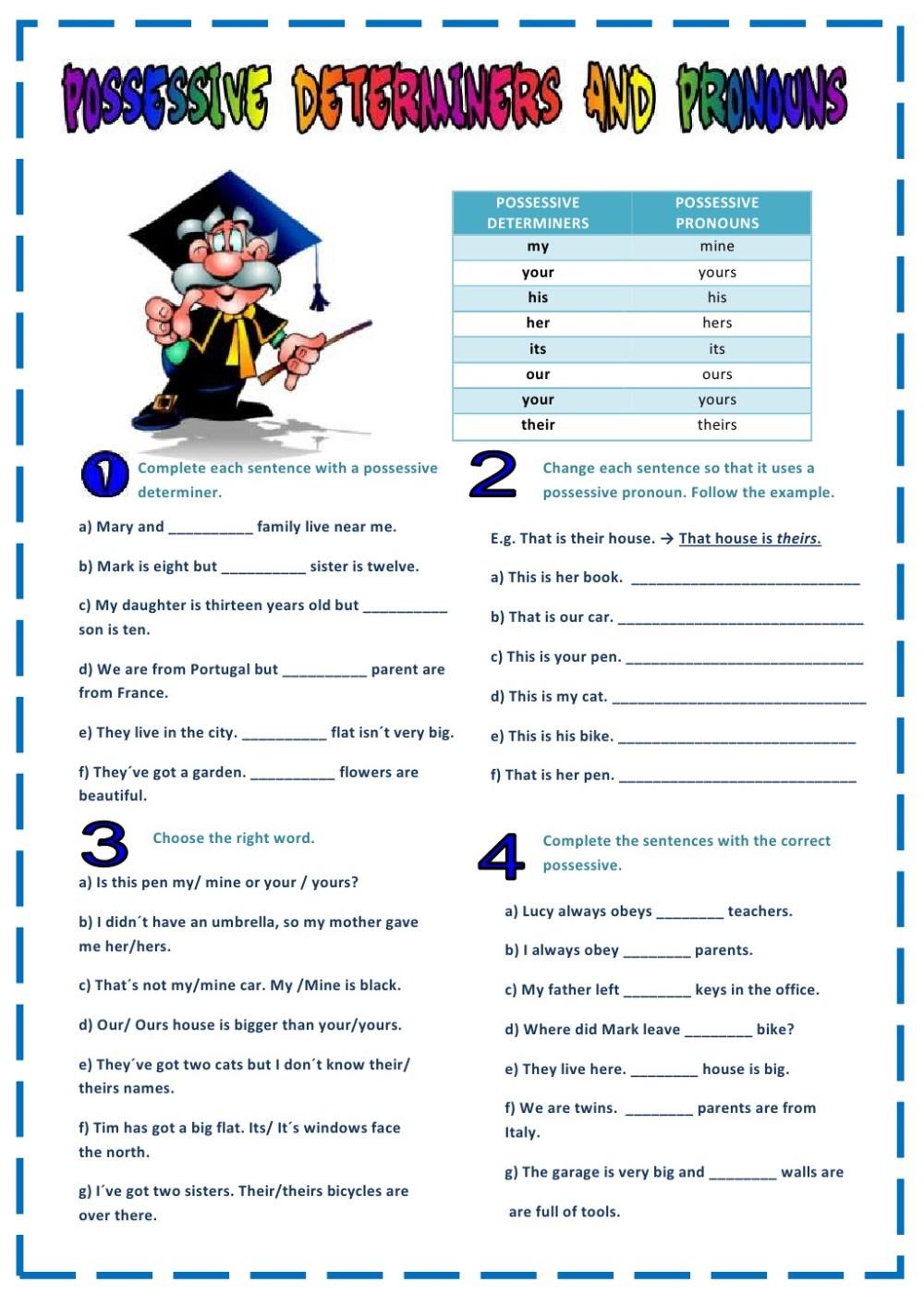 medium resolution of possessive pronouns exercises - beall blog