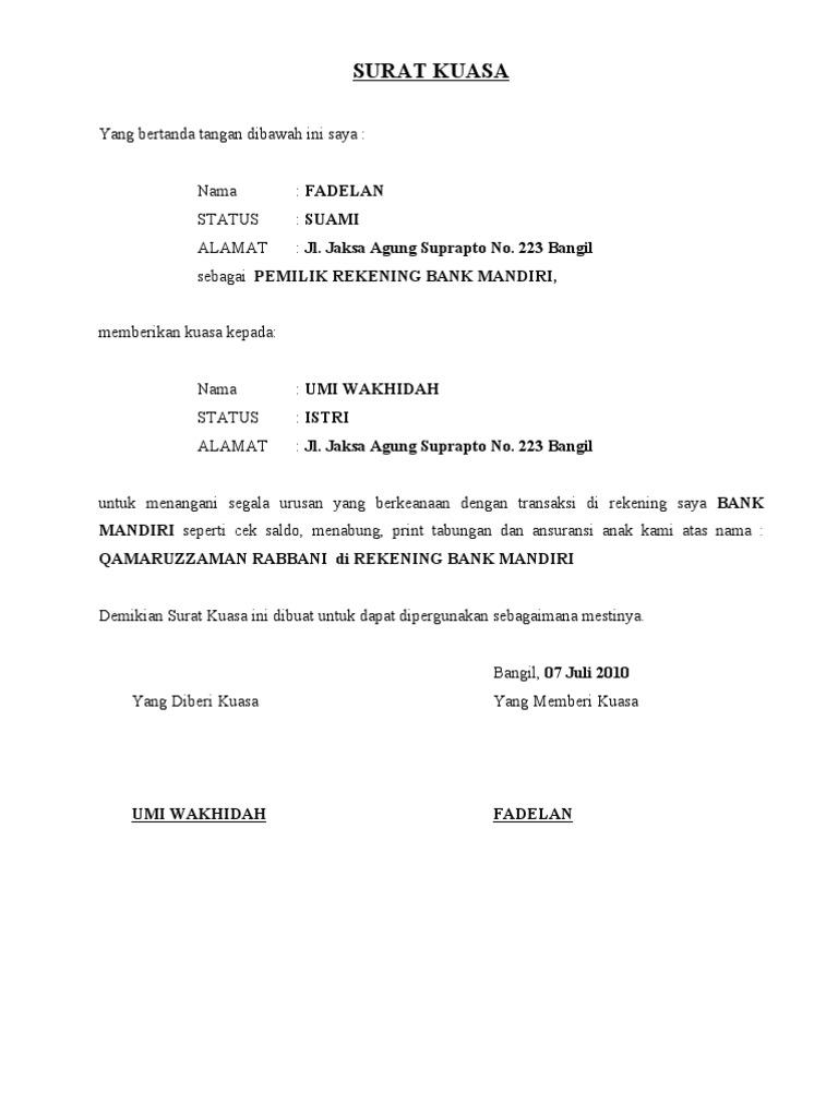 Contoh Surat Kuasa Ke Bank Untuk Print Buku Tabungan