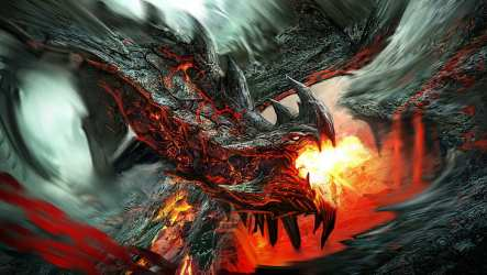 Fire Wallpaper Black Mythical Creature Dragon