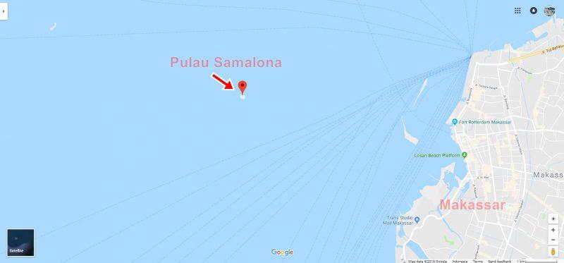 Peta Lokasi Pulau Samalona Island di Google Maps. Klik foto untuk melihat lokasinya lebih detail.