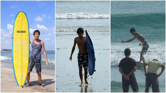 Saya, papan surfing dan sedikit tipuan kamera.... Akibat malas berlatih~
