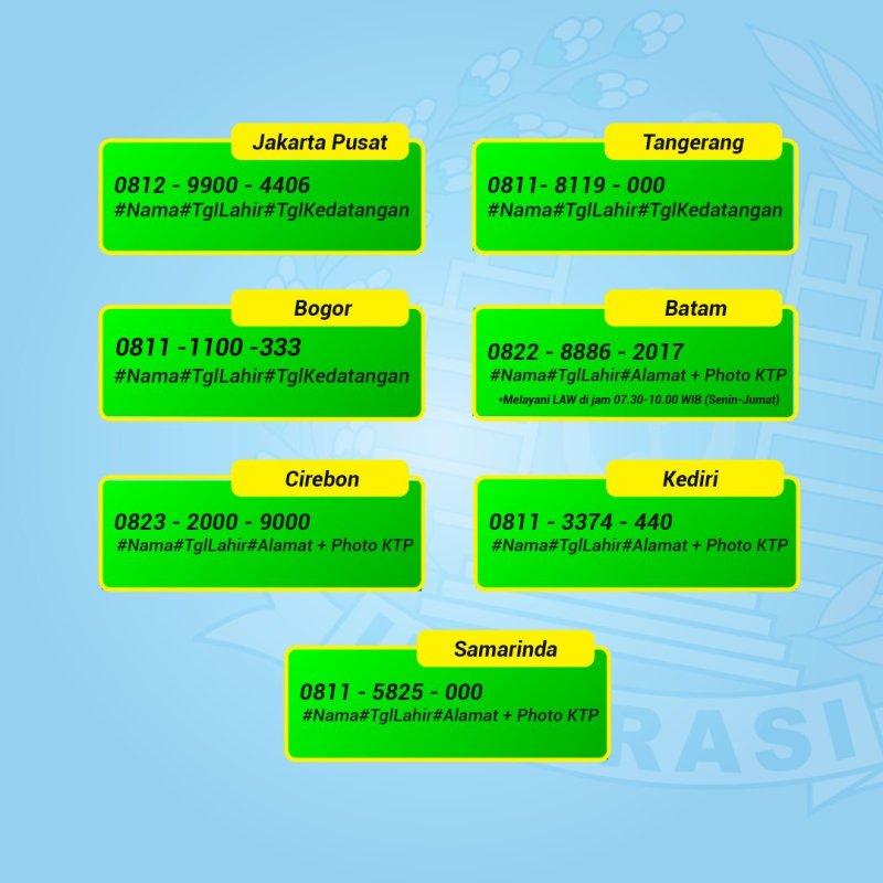 Tiap kantor imigrasi mempunyai nomor layanan buat paspor lewat whatsapp yang berbeda beda.