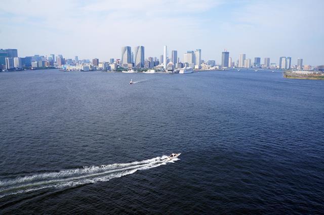 Berjalan melewati jembatan sekaligus menikmati pemandangan Tokyo.