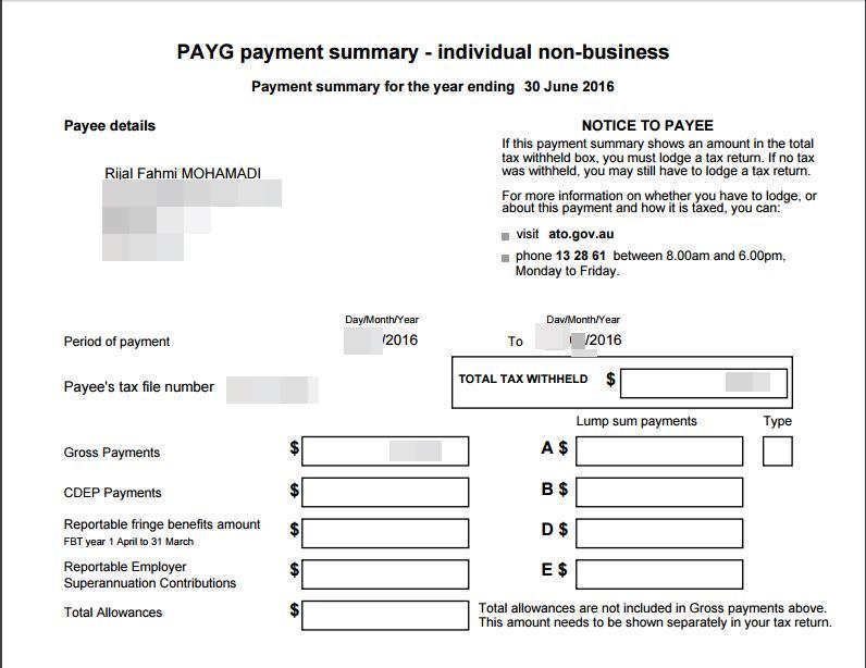 Payment Summary(PAYG) dari tempat saya bekerja di Sydney. Form yang ada di ATO nanti kurang lebih seperti di payment summary ini. Angka yang diisi nggak terlalu banyak, jadi gak bikin bingung. Meski ini adalah pertama kalinya saya isi pelaporan pajak di Australia sendiri.