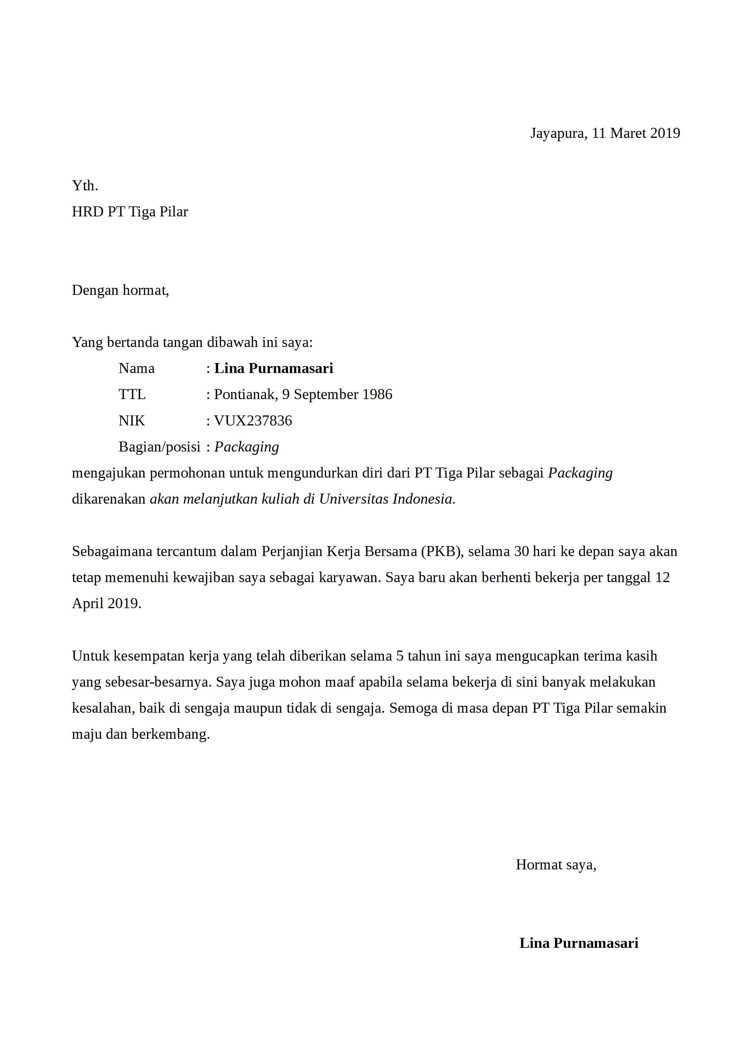15+ Contoh surat pengunduran diri universitas terbaru terbaik