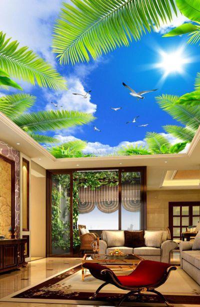 Living Room Ceiling Wallpaper Designs India