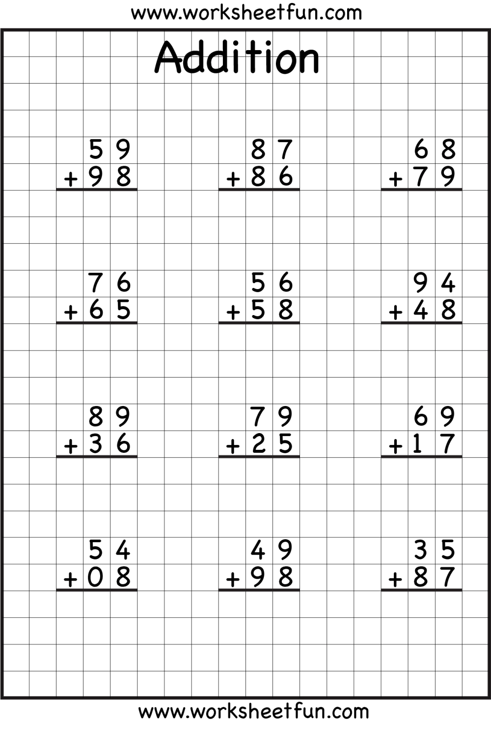 medium resolution of 3 Digit Addition With Regrouping Free Printable Worksheets