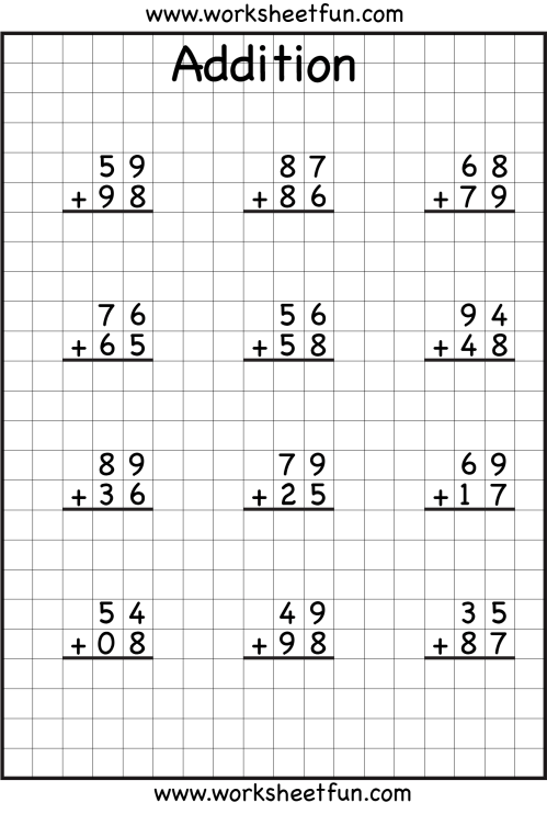 small resolution of 3 Digit Addition With Regrouping Free Printable Worksheets