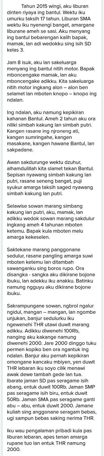 Cerita Liburan Bahasa Jawa Krama : cerita, liburan, bahasa, krama, Cerita, Pengalaman, Bahasa