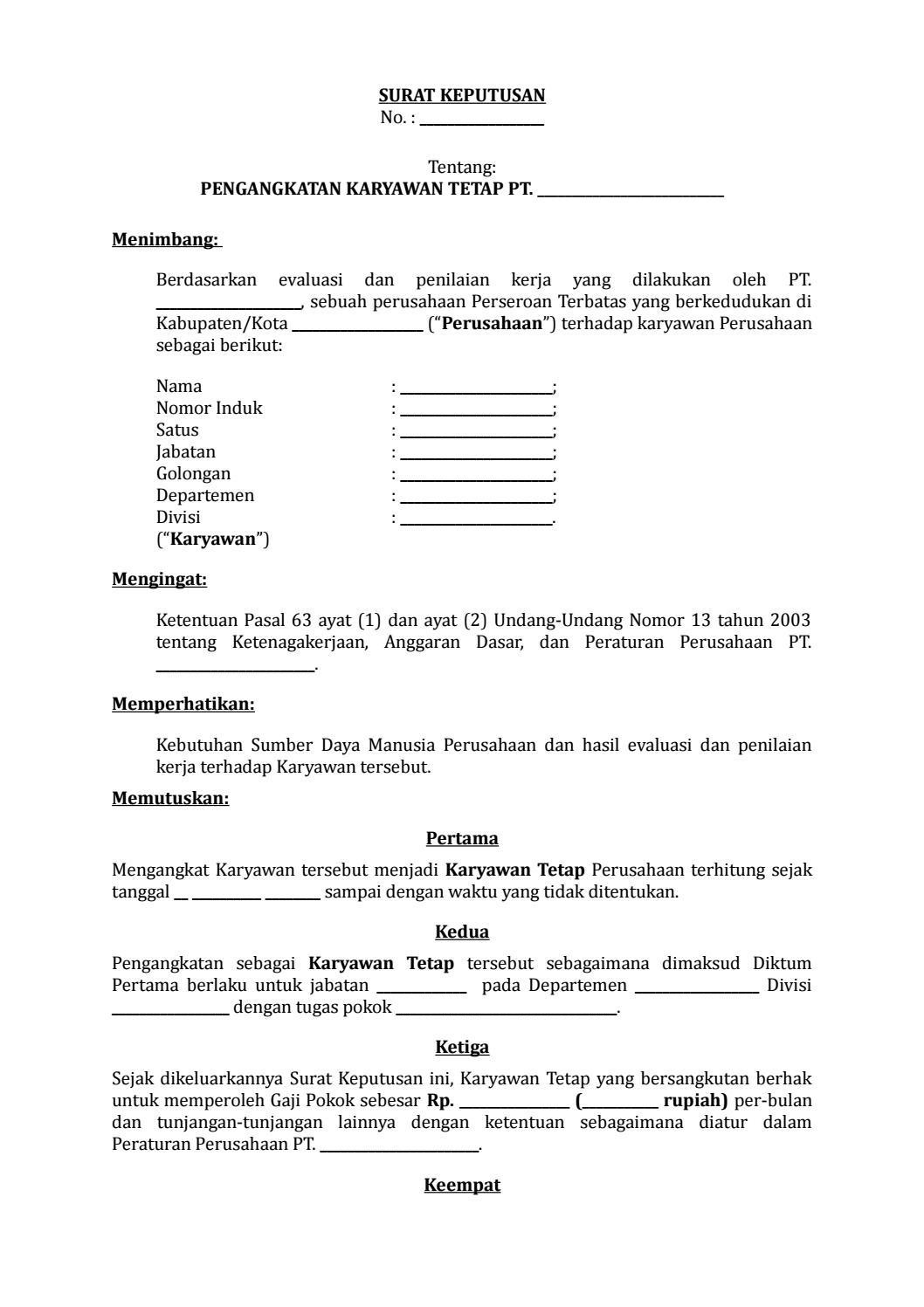Surat Pengangkatan Direktur : surat, pengangkatan, direktur, Contoh, Surat, Keputusan, Direksi, Tentang, Pengangkatan, Karyawan, Tetap, Kumpulan