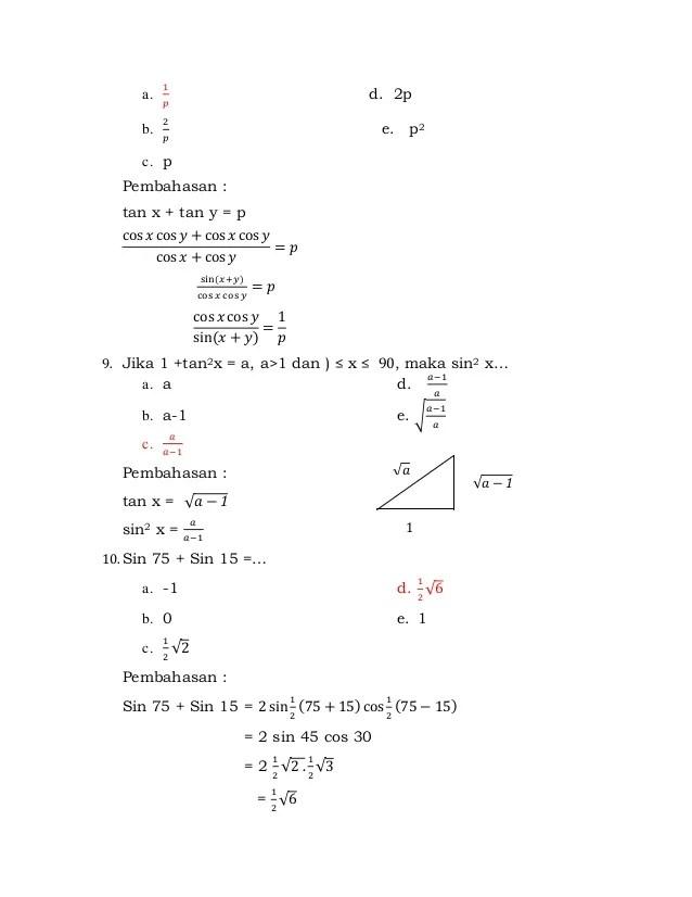 Soal Trigonometri Kelas 10 Doc : trigonometri, kelas, Trigonometri, Kelas, Semester, Dengan