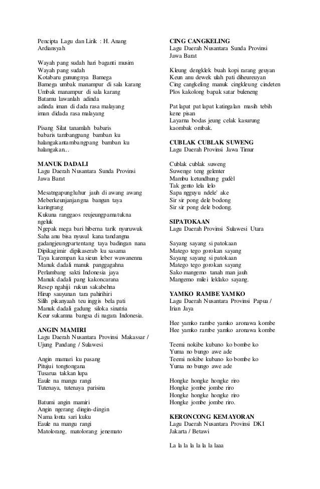Lagu Daerah 34 Provinsi Beserta Liriknya : daerah, provinsi, beserta, liriknya, Daerah, Betawi, Keroncong, Kemayoran