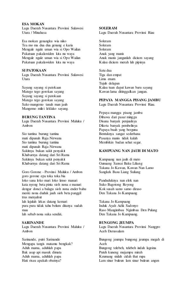 Lagu Daerah 34 Provinsi Beserta Liriknya : daerah, provinsi, beserta, liriknya, Lirik, Daerah, Asalnya, Provinsi