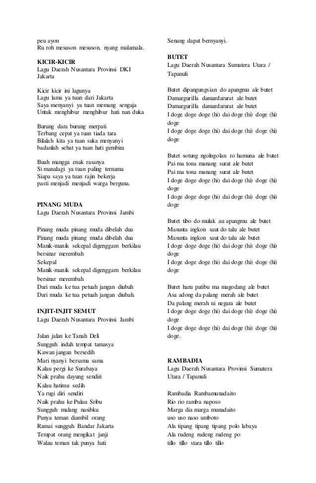 Lagu Daerah 34 Provinsi Beserta Liriknya : daerah, provinsi, beserta, liriknya, Lirik, Daerah, Pendek
