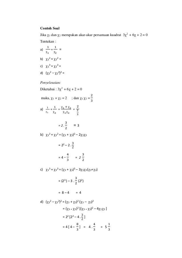 Contoh Soal Persamaan Kuadrat : contoh, persamaan, kuadrat, Persamaan, Kuadrat, Mudah