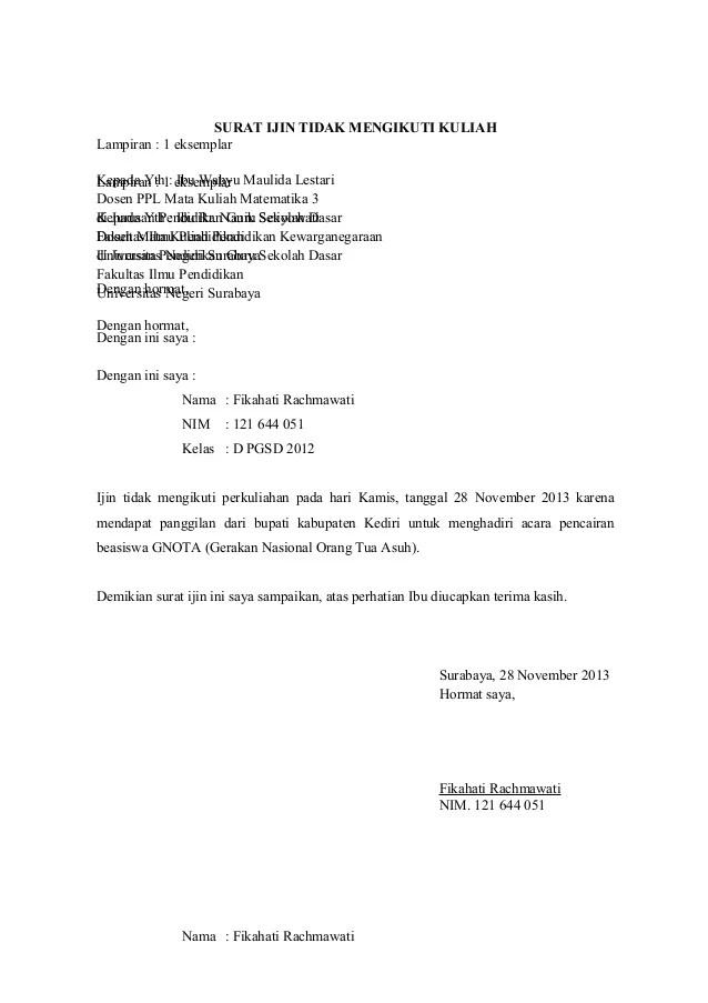 Surat Izin Bahasa Jawa : surat, bahasa, Contoh, Surat, Tidak, Masuk, Sekolah, Bahasa