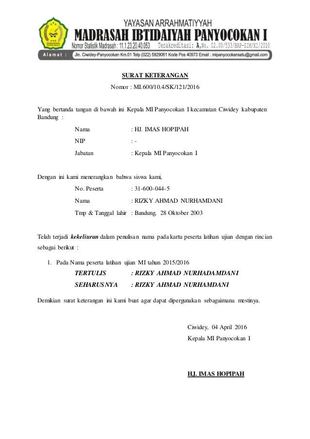 Surat Keterangan Salah Nama Contohsuratz Net