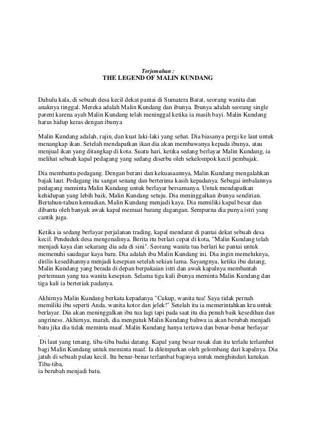 Cerita Malin Kundang Dalam Bahasa Inggris : cerita, malin, kundang, dalam, bahasa, inggris, Cerita, Malin, Kundang, Singkat