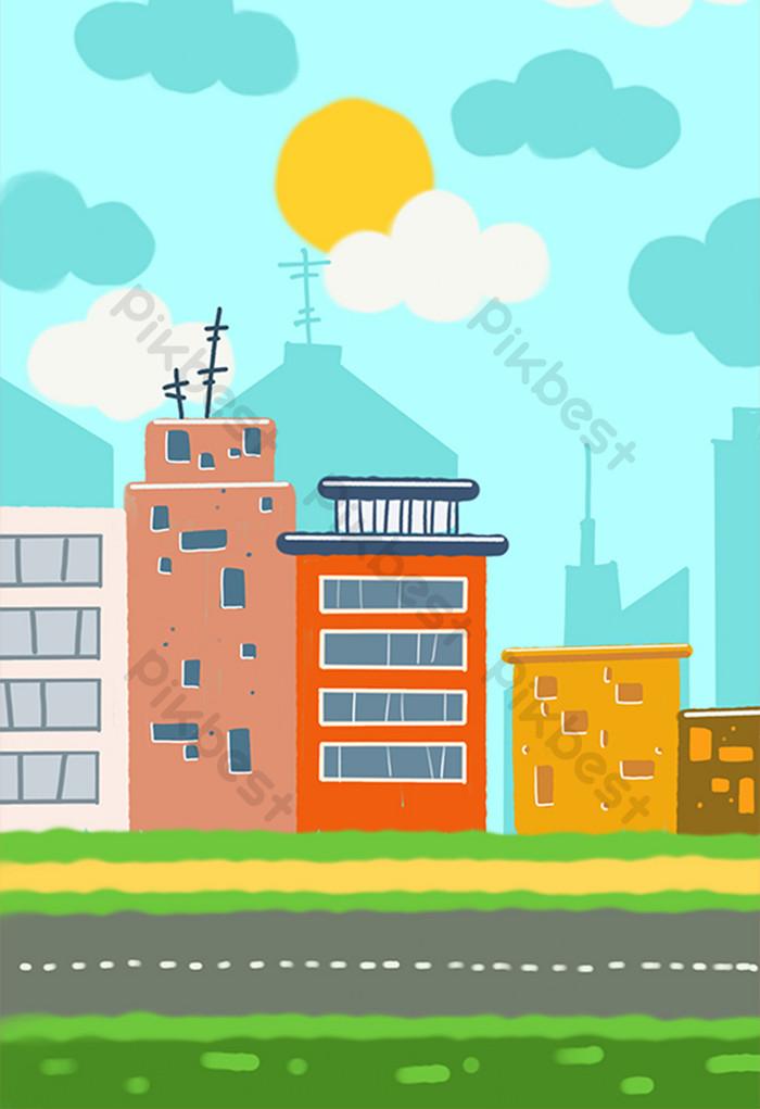 Background Animasi Kota : background, animasi, Background, Pemandangan, Kartun